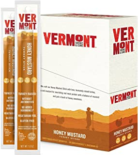 Vermont Smoke & Cure Meat Sticks - Antibiotic Free Turkey Sticks - Gluten-Free Snack - Paleo and Keto Friendly - Nitrate Free - Honey Mustard - 1oz Stick - 24 Count