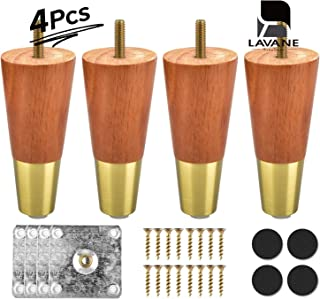 5 inch / 12cm Wooden Furniture Legs, La Vane 4Pcs Walnut Solid Wood Tapered M8 Furniture Replacement Feet with Pre-Drilled 5/16 inch Bolt & Brass Base & Mounting Plate & Screws for Sofa Bed Ottoman