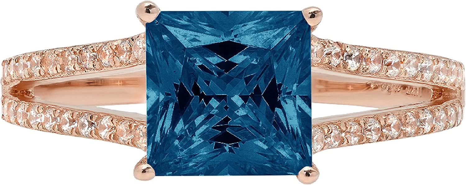 2.42 ct Princess Cut Solitaire Accent split shank Genuine Flawless Natural London Blue Topaz Gemstone Engagement Promise Statement Anniversary Bridal Wedding Ring Solid 18K Rose Gold