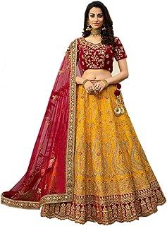 Globalia Creation Women's Silk Semi-stitched Lehenga Choli (palak yellow_Yellow_Free Size)