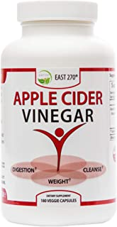 100% Organic Apple Cider Vinegar up to 2,400 mg per Day. 180 Capsules Fast Cleanse Weight Loss, Appetite suppressant, Bloating Relief. Raw ACV Diet Fat Burner & Detox Pills.