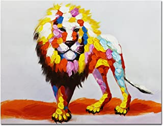 Fokenzary Hand Painted Canvas of Bright Colorful Lion King Walking Modern Wall Art Framed Ready to Hang