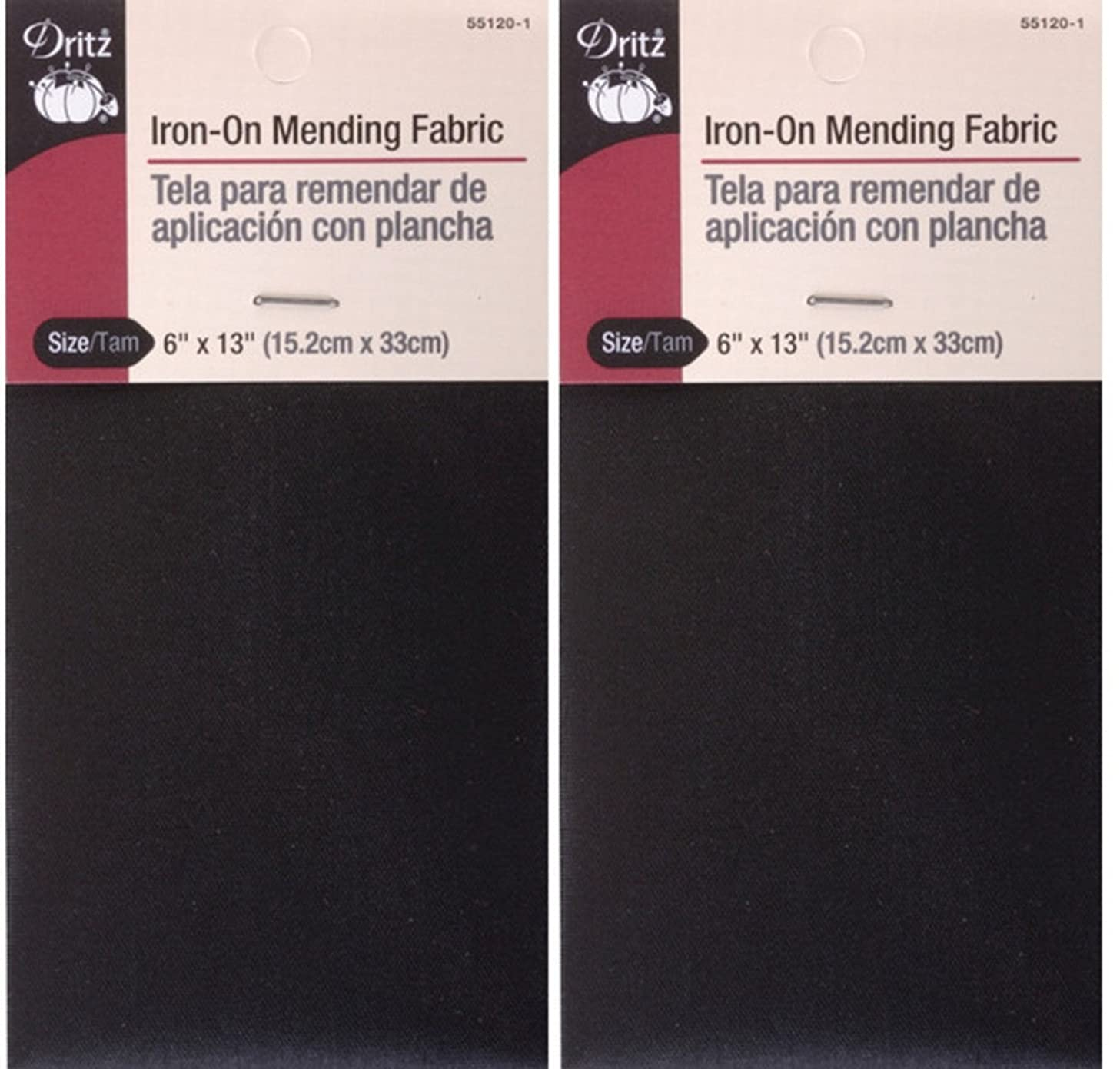 Dritz 55120-1 Iron-On Mending Fabric, Black, 6 by 13-Inch (2 Pack)