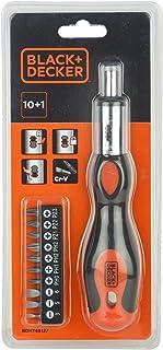 Black+Decker 10 Pieces Bimaterial Steel Multibit Ratcheting Screwdriver with Bits, Orange/Black - BDHT68127, 2 Years Warranty