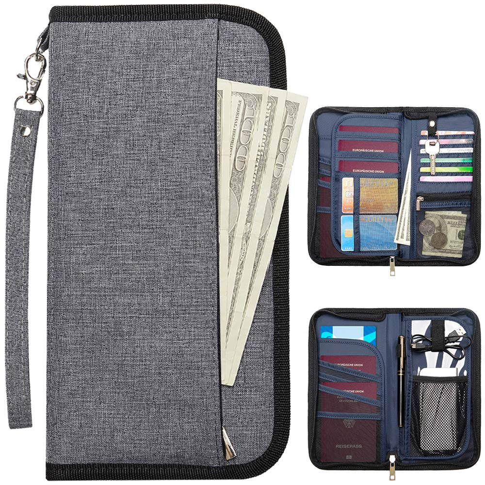 Grey Passport Wallet Travel Organizer