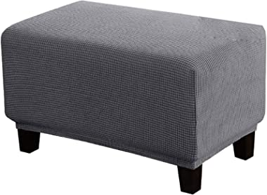 Jacquard Ottoman Cover, Rectangle Footstool Slipcover Elastic Stool Cover for Foot Stool-A-L