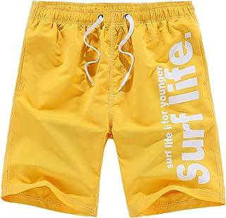 Elonglin Men's Summer Casual Beach Shorts Outdoor Lightweight Elastic Waist Drawstring Sport Workout Shorts Quick-Dry