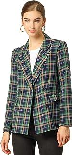 Allegra K Women's Notched Lapel Double Breasted Plaid Work Formal Blazer Jacket