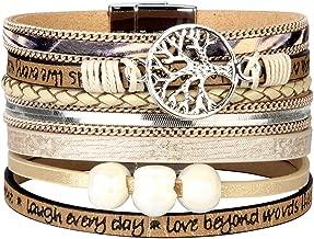 Jenia Tree of Life Leather Cuff Bracelet Gorgeous Wrap Bracelet Bohemian Jewelry for Women, Girls