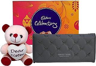 Saugat Traders Rakhi Gift for Sister - Soft Toy, Cadbury Celebration & Womens Wallet - Gift for Sister On Rakshabandhan-Bi...