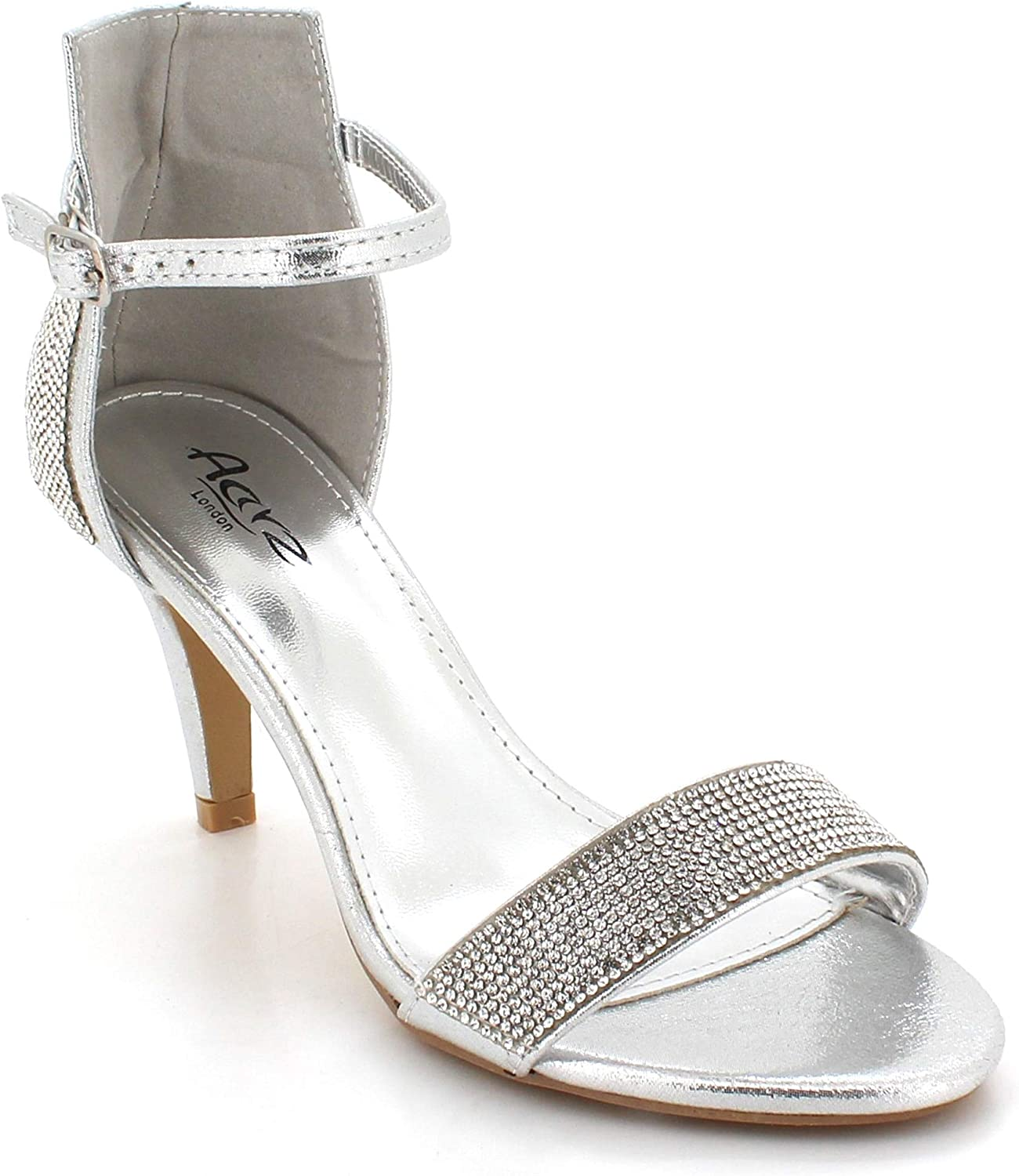 AARZ LONDON Womens Ladies Diamante Studded Sparkly Open Toe Evening Wedding Party Prom Bridal Medium Heel Sandals Shoes Size
