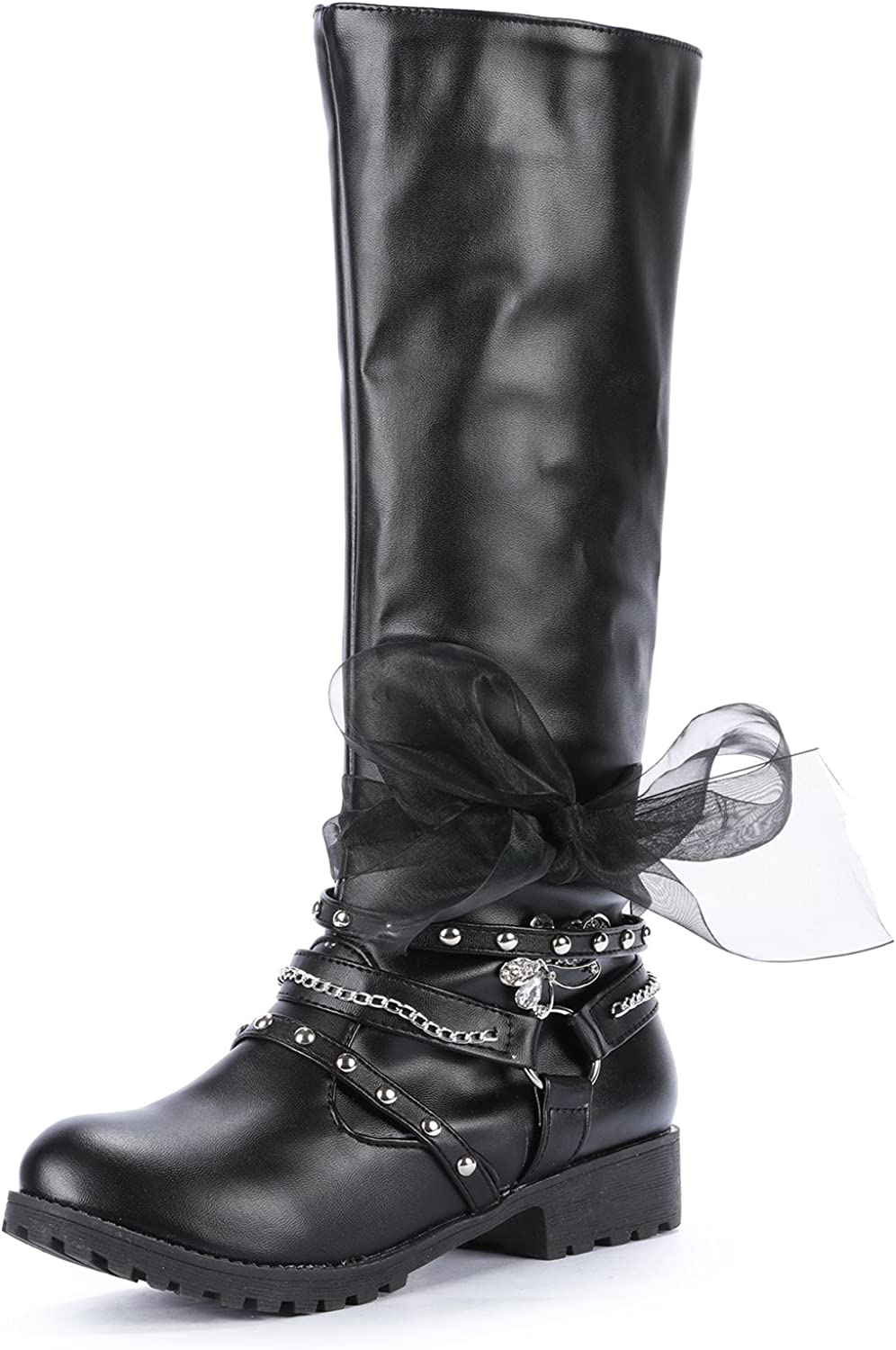 Odema Womens Knee High Low Heel Zip Quilted Bowknot Boots