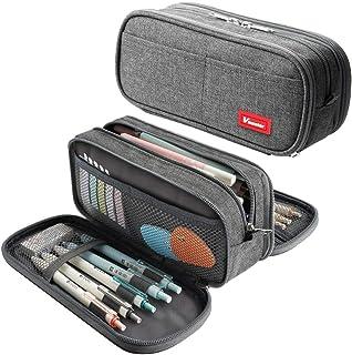 Large Pencil Case Big Capacity Pencil Bag Large Storage Pouch 3 Compartments Desk Organizer Marker Pen Case Simple Station...