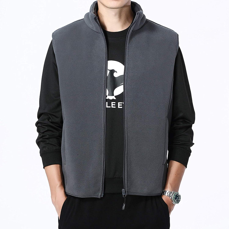 AIEOE Homme Vest Polaire sans Manche Epais Chaude Hiver Automne Gilet Zipp/é Hiver Doubl/ée Peluche Doux Blousons