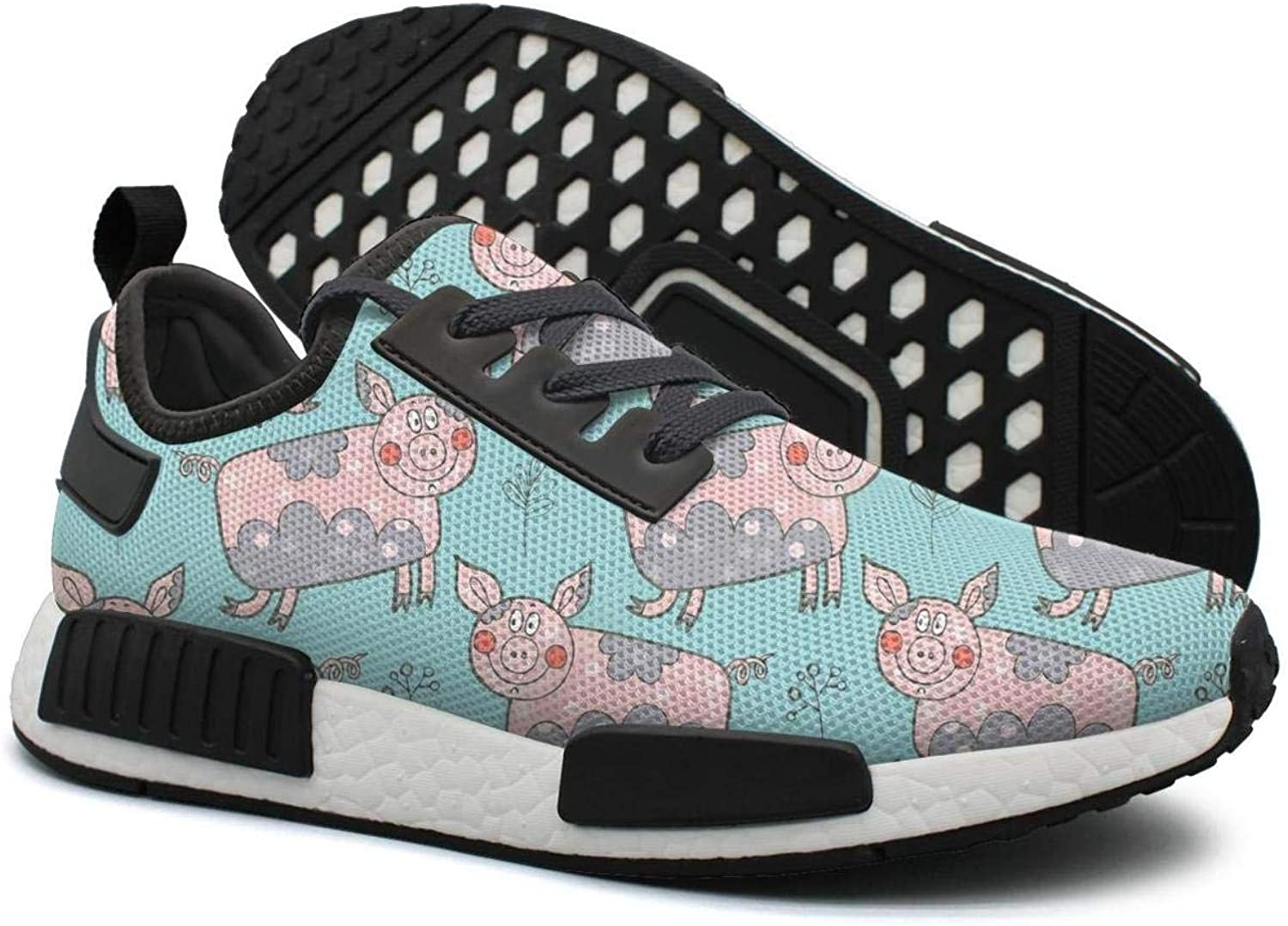 Hand Drawn Beautiful Flower Pig in A Village Women's Jogger Lightweight Tennis Sneakers Gym Outdoor Walking shoes