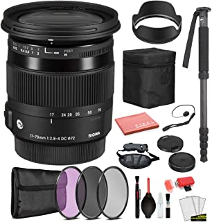Sigma 17-70mm f/2.8-4 DC Macro OS HSM Contemporary Lens for Canon EF with Bundle Includes: 3PC Filter Kit + More