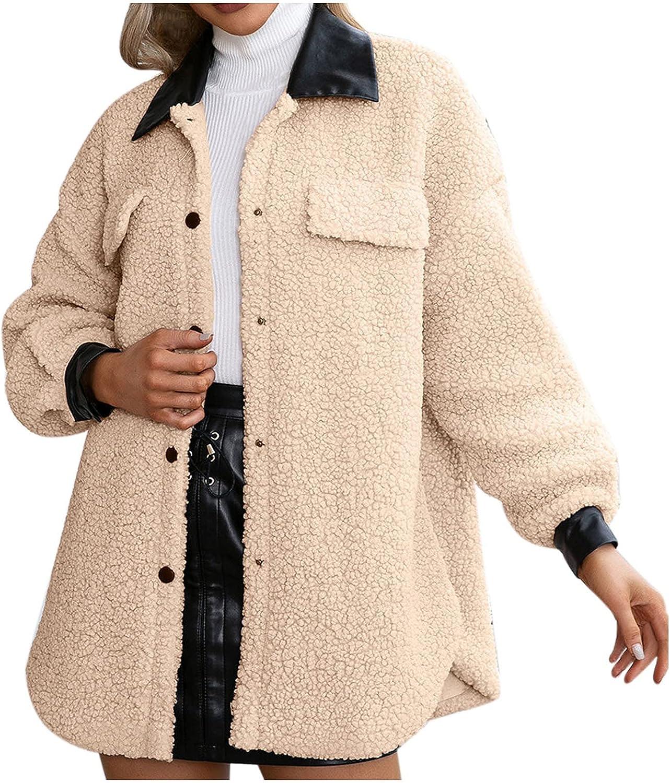 BEUU Women's Casual Warm Faux Shearling Coat Jacket Oversized Open Front Cardigan Overcoat Fuzzy Fleece Lapel Outerwear