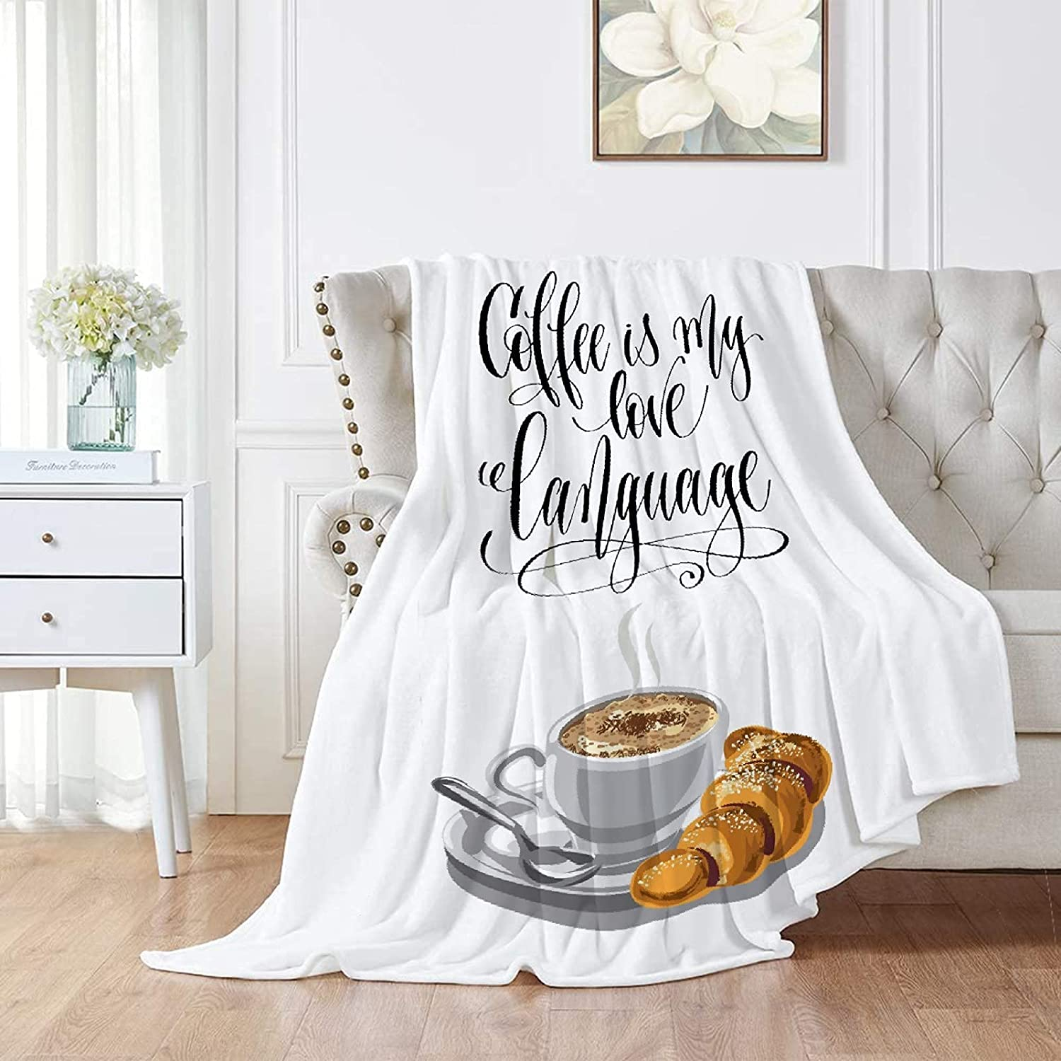 DOPKEEP Coffee is My Love Language Flannel Blanket Super beauty Year-end gift product restock quality top Throw for Cou