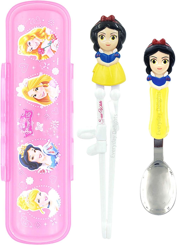 Disney Snow White Spoon Training Chopsticks Flatware Utensil Cutlery Dinnerware Tableware Set with Case, 3 pieces
