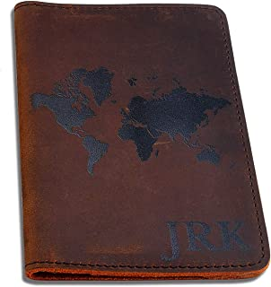 Personalised Genuine Leather Passport Cover, Printed Travel Passport Holder, Brown Wallet Case for Passport