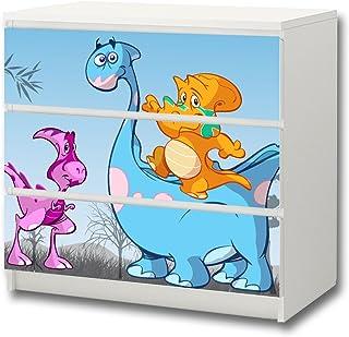 Dinosaurio pegatina de muebles | M3K15 | Pegatinas adecuadas para la cómoda MALM con 3 compartimentos de IKEA (el mueble...