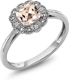 10K White Gold with Diamond Accent Ring 0.52 Ct Cushion Peach Morganite