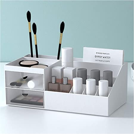 Subsky Organisateur de Maquillage avec tiroirs, Make Up Storage Cosmetic Dressing Table Organizer Makeup Box avec tiroirs pour Commode, Chambre, Salle de Bain