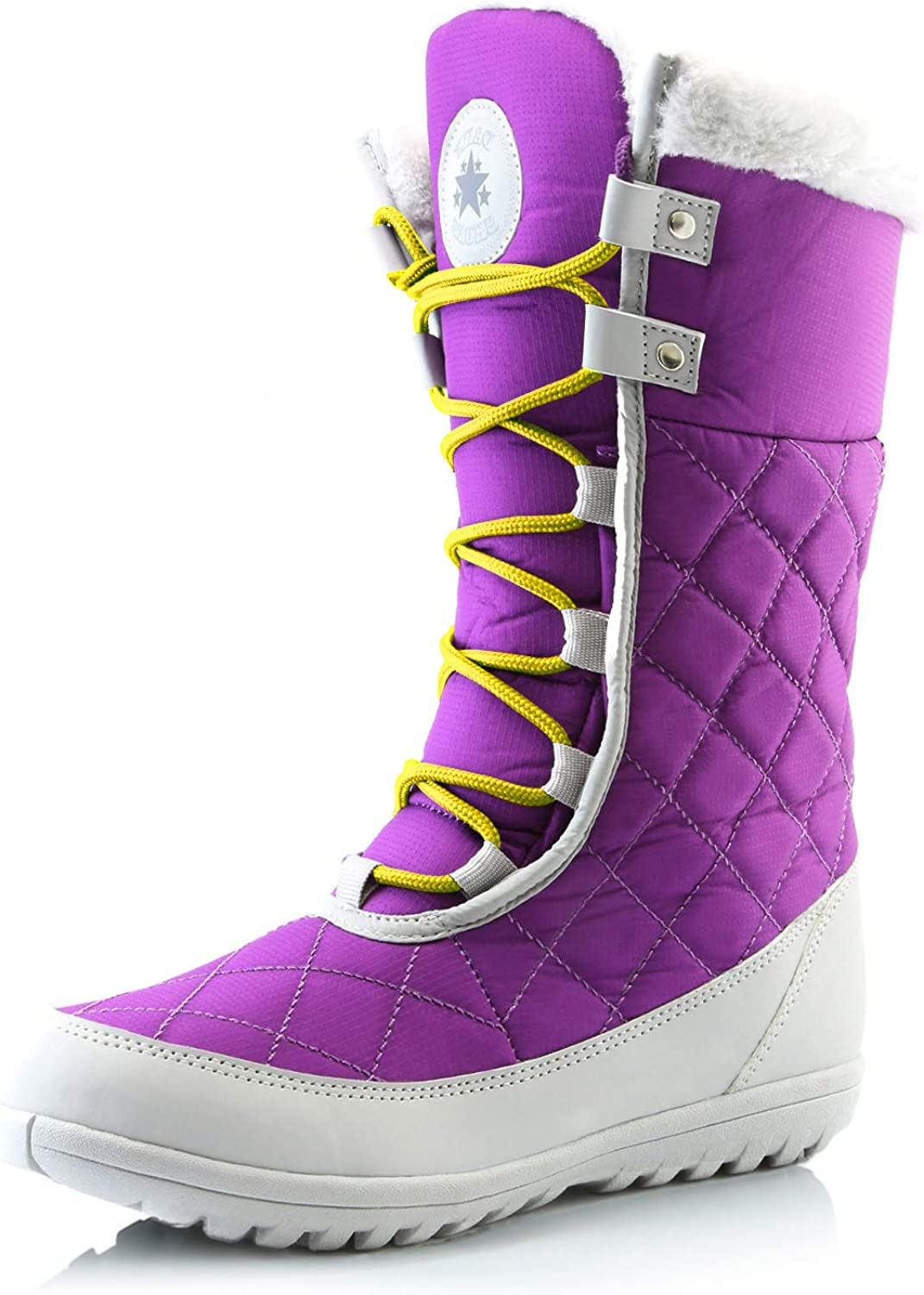 DailyShoes Women's Comfort Round Toe Mid Calf Flat Ankle High Eskimo Winter Fur Snow Boots, Yellow