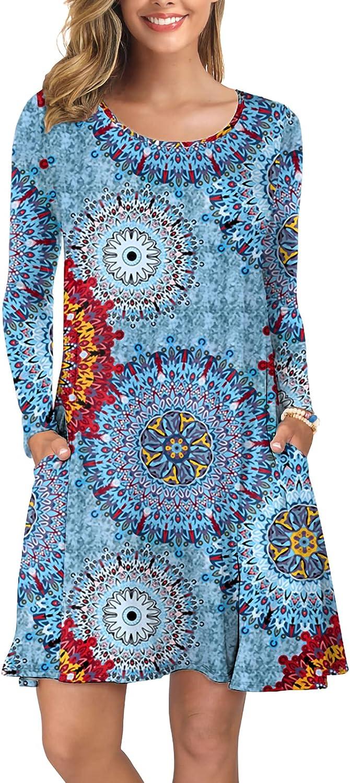 KORSIS Women's Long Popular overseas Sleeve Tops Casual T-Shirt New York Mall Round Dress Neck