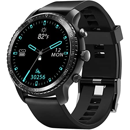 Tinwoo Smart Watch for Android / iOS Phones, Support Wireless Charging, Bluetooth Health Tracker with Heart Rate Monitor, Digital Smartwatch for Women Men, 5ATM Waterproof (TPU Band Black)