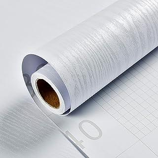 Fantasnight Papier Adhesif pour Meubles Bois Blanc Décoration Papier Peint Imperméable 40X300cm Bureau Armoire Armoire Déc...