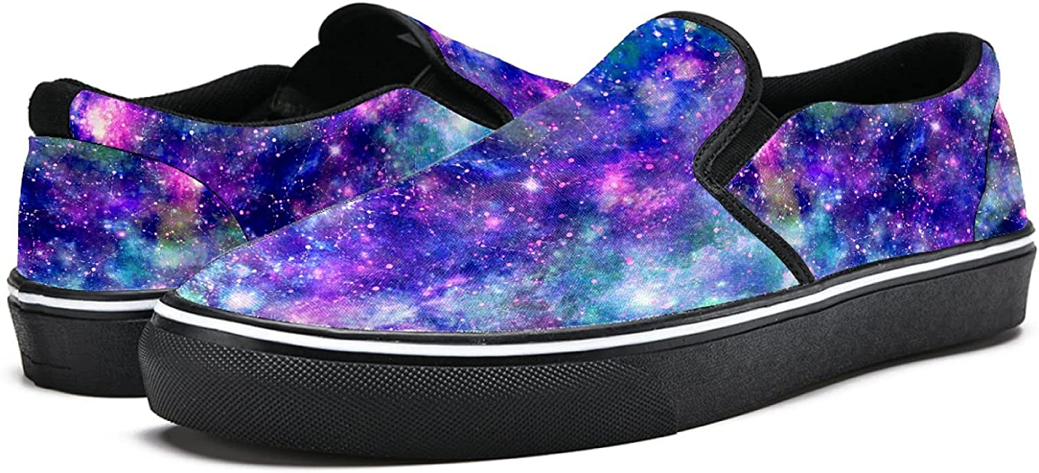 Men's Classic Slip-on Canvas Shoe Fashion Sneaker Casual Walking Shoes Loafers 9.5 Fantasy Galaxy