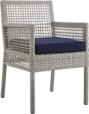 Modway Aura Wicker Rattan Outdoor Patio Dining Arm Chair with Cushion in Gray Navy