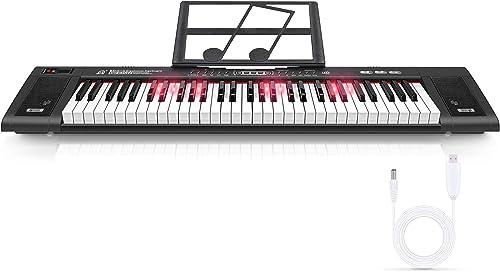 Magicfun Clavier Électronique 61 Touches, Piano Numérique Portable avec Pupitre, 200 Rythmes, 200 Sons etSortie de Ca...