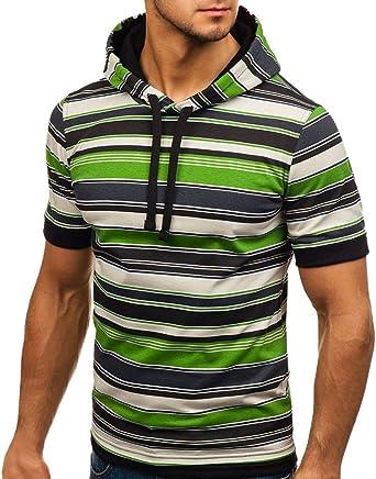 YKARITIANNA 2019 Summer Polo Summer Men's Corded Hoodie Printed Line Short Sleeve Shirt Pullover