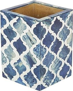 Moroccan & Moorish Art Inspired Desktop Pen & Pencil Holder Cups Office Supplies Organizer Caddy from Handicrafts Home (4x3x4 inches, Blue)