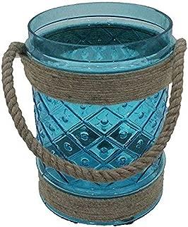Aqua//Bronze Essential D/écor Entrada Collection Tea Light Holder 4.25 by 7.5-Inch