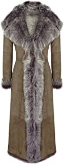 Infinity Ladies Suede Toscana Full Length Hooded Taupe Sheepskin Leather Trench Coat