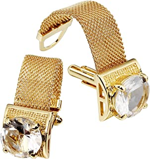 Mens Cufflinks with Chain - Stone and Shiny Gold Tone Shirt Accessories - Party Gifts for Young Men (Crystal)