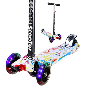 Toddler Scooter Portable Three Wheel Scooter with Adjustable Height Flashing PU Wheels Wide Deck for Kids Toddlers Boys Girls Children from 3 to 6 MiniBoss Kids Scooter 3 Wheels Kick Scooter for Kids