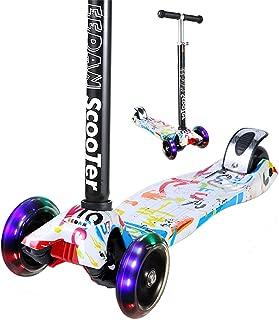 EEDAN 子供向け スクーター 3輪 T バー 調節可能な高さ ハンドル キック スクーター デラックス付き Pu 点滅 ホイール ワイドデッキ 2〜14歳以上の男の子/女の子用 グラフィティ