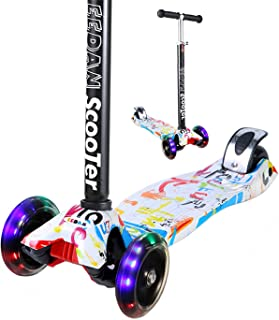 EEDAN Scooter for Kids 3 Wheel T-bar Adjustable Height Handle Kick Scooters with Deluxe PU Flashing Wheels Wide Deck for Boys/Girls from 2 to 14 Year-Old (Grafitti)