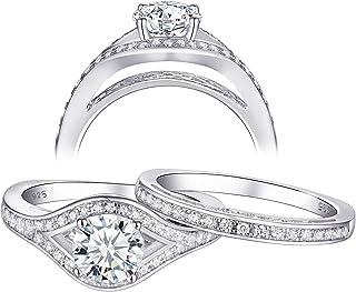 أطقم خواتم زفاف من نيو شي للنساء خواتم خطوبة 925 فضة استرليني 1.3 قيراط AAA Cz جولة الحجم 5-10