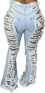 Sponsored Ad - Women's Bell Bottom Ripped High Waist Classic Flared Original Jean
