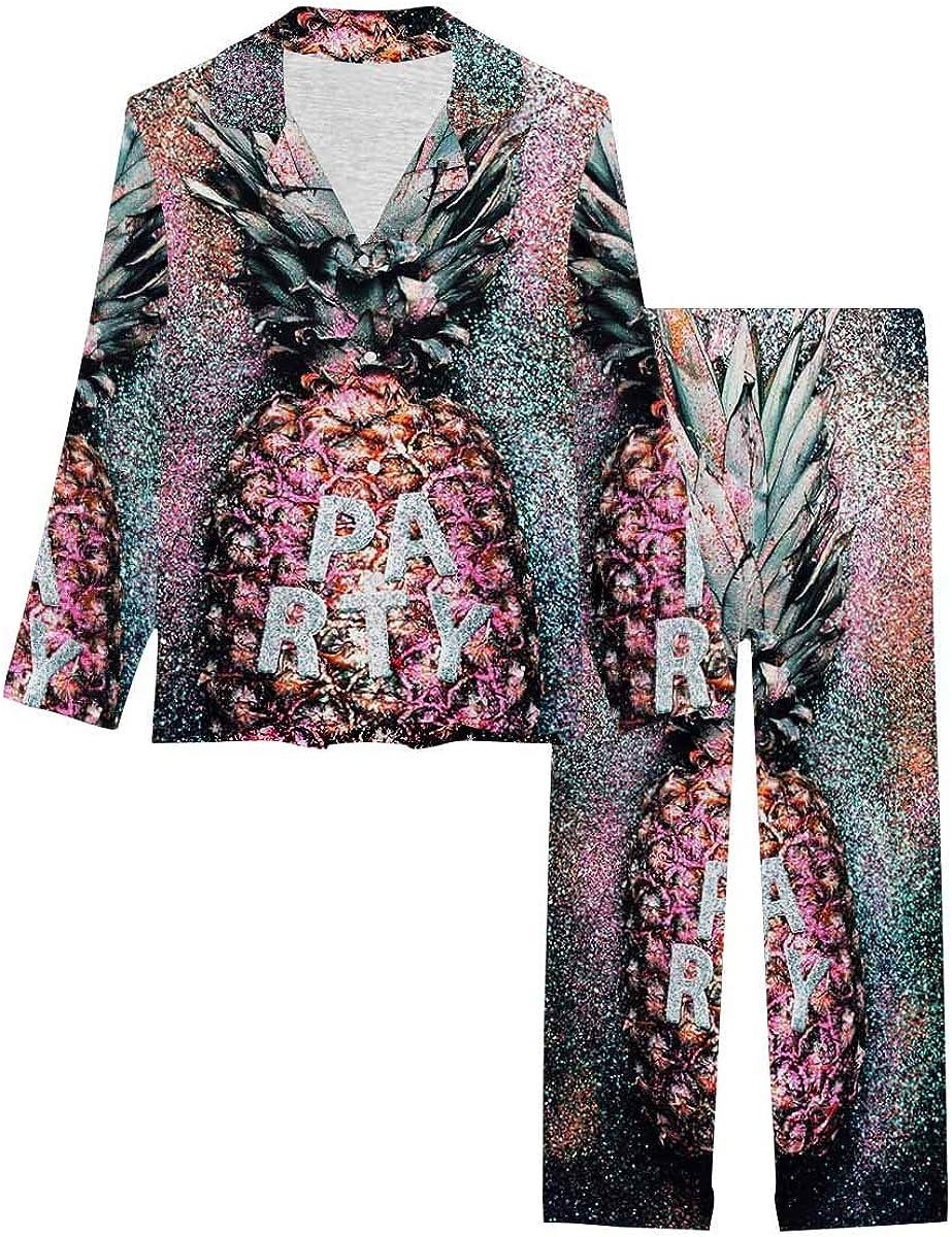 InterestPrint Women's Nightwear Notch Collar Loungewear with Long Pants Pineapple Art Shine Glitter Pattern