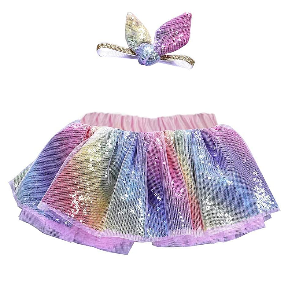 Rainbow Sparkle Tutu Skirts for Girls, Baby Girls Sequin Layered Elastic Puffy Tulle Skirt with Headband