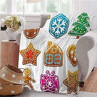 CRANELIN Travel Throw Blanket Gingerbread Cookies in Cartoon Style Delicious Looking Pastries Xmas Taste Multicolor Bed Sleeping Travel Pets Reading W40 xL60
