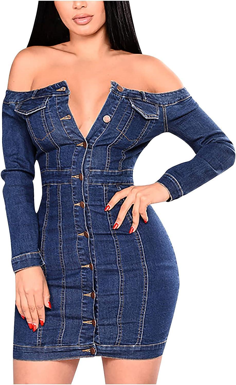 wodceeke Women's Button Long Sleeve Tight Sexy Bag Hip Denim Dress Summer Plus Size Dresses