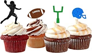 24 Pcs American Football Cupcake Toppers for Super Bowl Party Decorations,Touchdown, Sports Game Day Decor