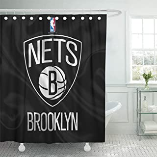 Ladble Rugby Decor Shower Curtain Set with Hooks Brooklyn City Nets Emblem National Basketball Flag League Atlantic 72 X 72 Inches Polyester Waterproof Bathroom